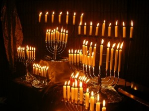 A multitude of Hanukkah Menorahs